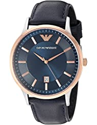 Emporio Armani Mens AR2506 Dress Black Leather Quartz Watch