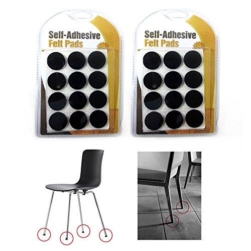24 x Self Adhesive Shape Felt Pads Furniture Floor Scratch Protector Black 0.87