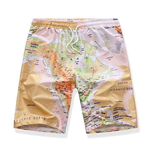 Map Boardshort - Men's Causal Pants Beach Shorts Hawaii Map Print Quick Dry Elastic Waist Boardshorts Pants with Pockets Yellow