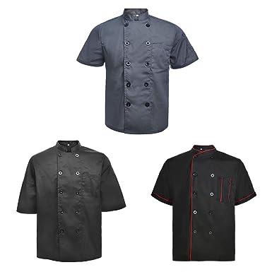 TopTie 3 Pack Hombres & Mujeres Abrigo de Manga Corta jacket-set1-xs Chef