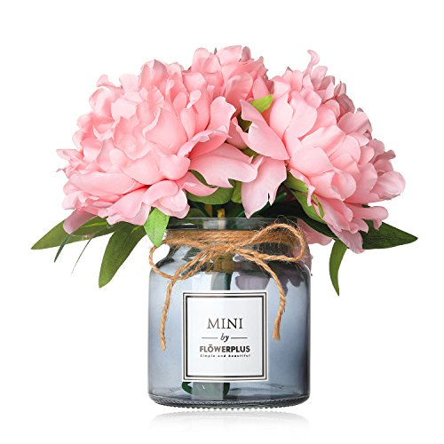 Missblue Faux Hydrangea Flowers in Vase,Artificial Silk Hydrangea Flower Bouquet with Glass Jar Home Rope for Wedding Proposal Bride Home Decoration and The Best Gift (Pink) (Hydrangea Faux Flowers)
