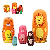 "Maxshop 5 Pieces 6"" Tall Cute Nesting Dolls Russian Handmade Wooden Cartoon Animals Pattern Toy gift"