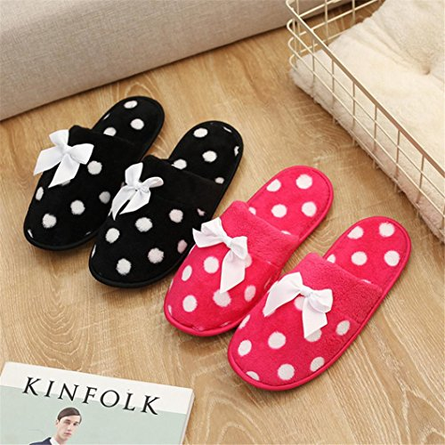 Pulison(TM) Unisex Plush Cotton Home Slippers Winter Warm Indoor Slippers Shoes Red eeko4