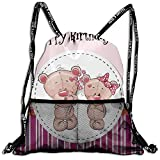 Very Strong Premium Quality Drawstring Backpack Gym Bag for Adults & Teens Two