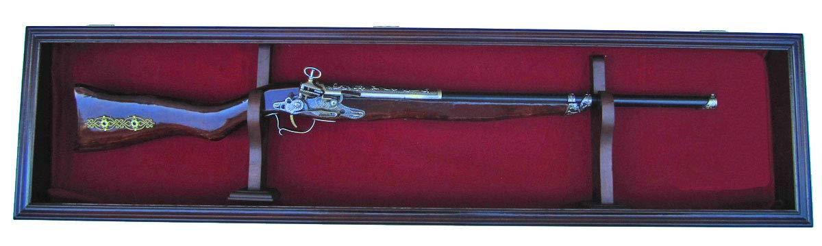 Single Rifle Gun Display Case Wall Rack Cabinet W Uv Protection Lock Gn18 Red Mahogany