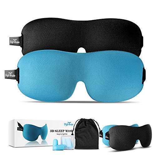 DIGITWHALE 3D Sleep Mask | Comfortable Memory Foam Eye Cover for Sleeping, Napping & Long Flights | Oeko-Tex Compliant | Silk Travel Pouch & Earplugs Included | for Men, Women & Kids | Pack of 2 (Sleep Flight)