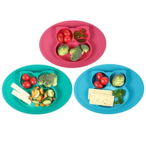 Silicone Mini Placemat - Baby Plate - Toddler Feeding Mat by Hanfeng- Strong Suction Base - Portable - 100% Food Grade Silicone - Fits Most highchairs, Microwave and Dishwasher Safe (Green) by Hanfeng (Image #3)