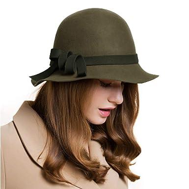a464ebbdbb8 Women 100% Wool Floppy Felt Hats Fedora Church Hat Wide Brim Cloche Bowler  Bowler Cap at Amazon Women s Clothing store