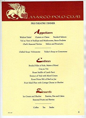 (Marco Polo Club Pre-Theatre Dinner Menu New York 1985)