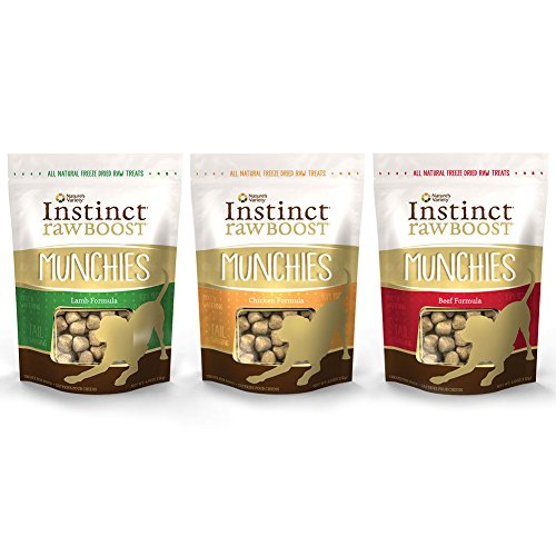 Nature's Variety Instinct Freeze Dried Raw Boost Munchies Grain Free All Natural Dog Treats Variety Pack - 4 Ounce - 3 Flavors - Chicken, Beef, and Lamb (3 Pack)
