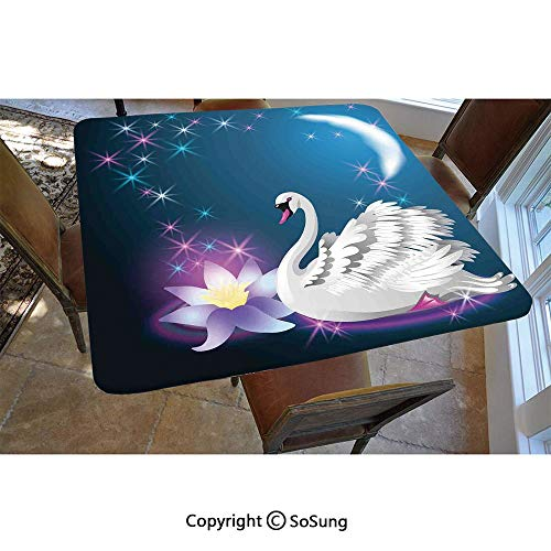 Swan Polyester Fitted Tablecloth,Magic Lily and Fairy Swan at Night Swimming in Lake Under Moon and Stars Picture Art Square Elastic Edge Fitted Table Cover,Fits Square Tables 48x48 Blue White