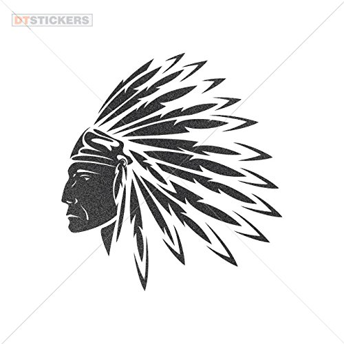 Chief Of The Boat Costumes (Decal Stickers Native American Chief Motorbike Boat (8 X 7,42 In. ) Metallic Black)