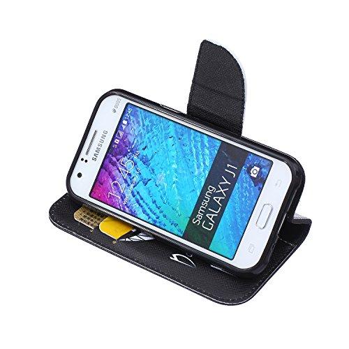 Funda Samsung J1, Samsung Galaxy J1 Carcasa Funda Cuero [Pluma Libre] Samsung Galaxy J1 Case Book Estilo Libro billetera con correa de cordón Magnético Folio Flip Caso pata de cabra titular de la tarj Mueca