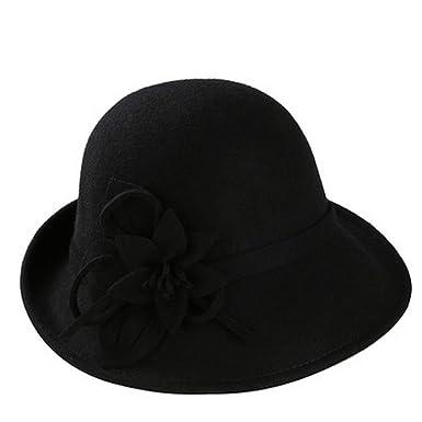 326423726a1 England Style Ladies Wool Fedoras Hats Flower Wool Felt Hat Fashion Women  Church Maison Michel Cloche Hat Cap at Amazon Women s Clothing store