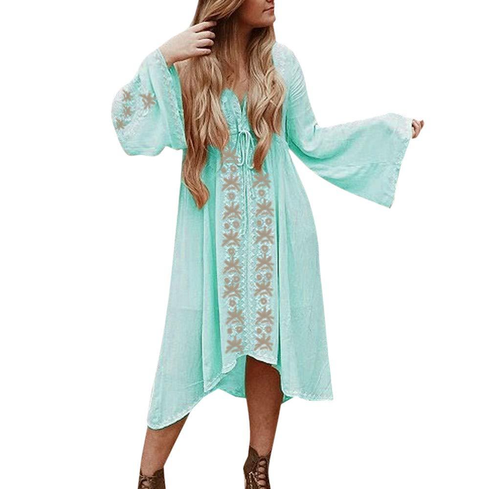 Women's Bohemian V-Neck Summer Blouse Loose Flower Embroidery Cardigan Chiffon Beachwear Dress Blue