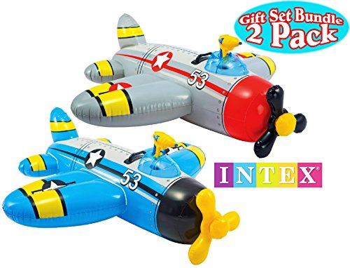 Intex Water Gun Squirter Fighter Plane Ride-On Pool Floats Red/Gray & Blue/Yellow Gift Set Bundle - 2 ()