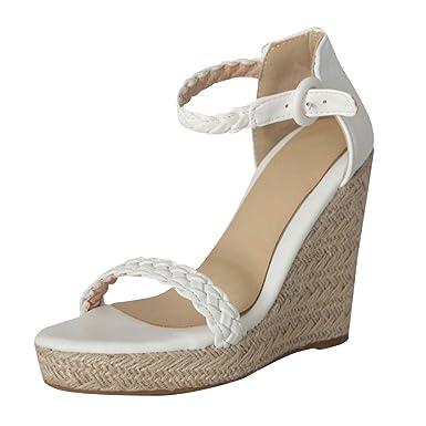 eeb034bd8 Amazon.com: Sharemen Womens Platform Espadrille Wedges Peep Toe High Heel  Sandals with Ankle Strap Buckle Up(White,US: 9): Clothing