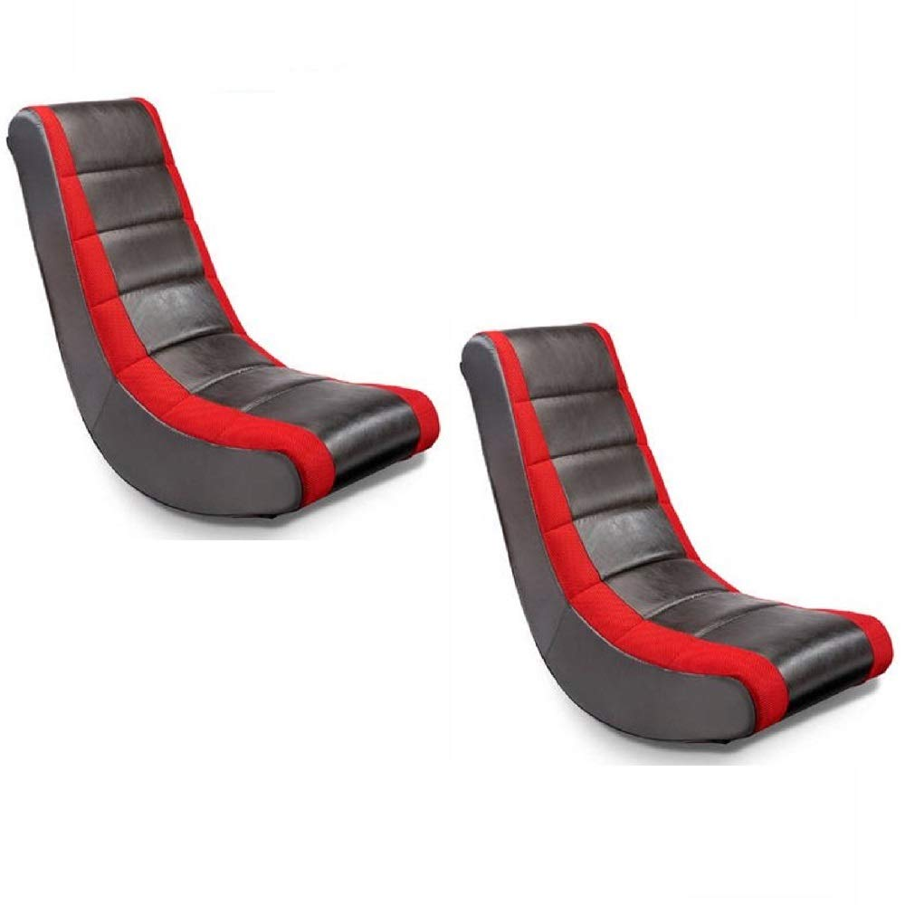 Crew Furniture Home Theater Recliner Classic Video Rocker Designed Heavy Use - Black/Red Set of 2