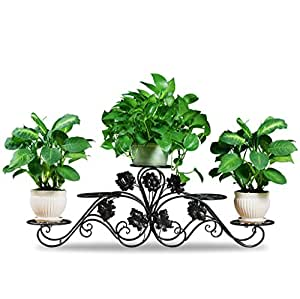 Metal Flower Racks Plant Display Stand Multi-storey Living Room Balcony Outdoor Flower Pot Rack ( Color : Black , Size : 12742cm )