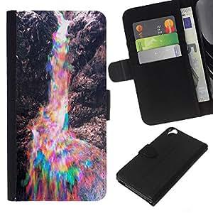¿Son coloridas Rocas del arco iris- la tarjeta de Crédito Slots PU Funda de cuero Monedero caso cubierta de piel Para HTC Desire 820