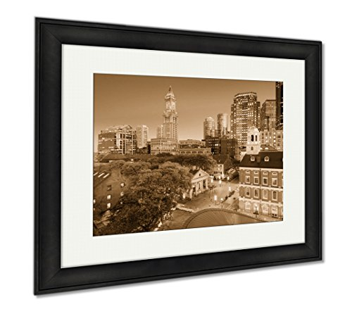 Ashley Framed Prints Downtown Boston Cityscape, Wall Art Home Decoration, Sepia, 26x30 (frame size), Black Frame, - Hall Faneuil Location