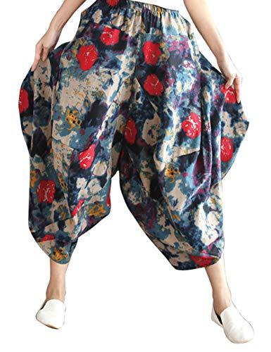 Gamba Pantaloni Lungo Besbomig Rosso Harem All'aperto Blu Biancheria Casuale Hippie Boho Cotone Yoga Larga XX81SR