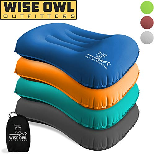 Wise Owl Outfitters Ultralight Inflatable Air Camping Pillow Compressible Compact Inflating Small...