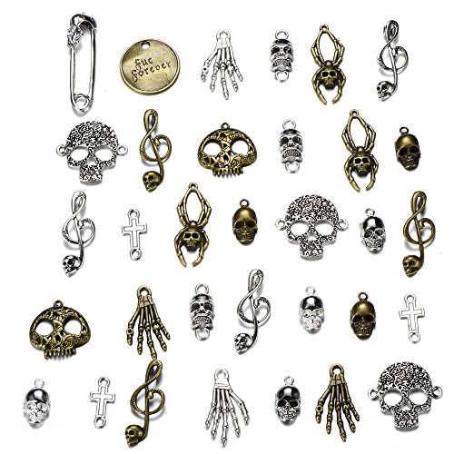 Pirate Skull Pendant - 100g Charms Pirate Skeleton Skull Tibetan Silver Vintage Pendants for Jewelry Making DIY Bracelet Necklace