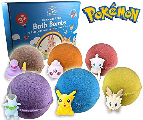 - Bath Bombs For Kids with POKEMON TOYS INSIDE / Kids Bath Bombs with Surprises - Bath Bomb Kit for Girls & Boys - Multicolored Bubble Bath Bombs - Natural, Safe and Moisturizing - Organic Gift Set