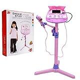 WISHTIME Kids Karaoke Microphone Musical Toys ZM16038 Kids Pink Karaoke Adjustable Stand With External Music Function & Flashing Lights Toy for Kids Children Girls