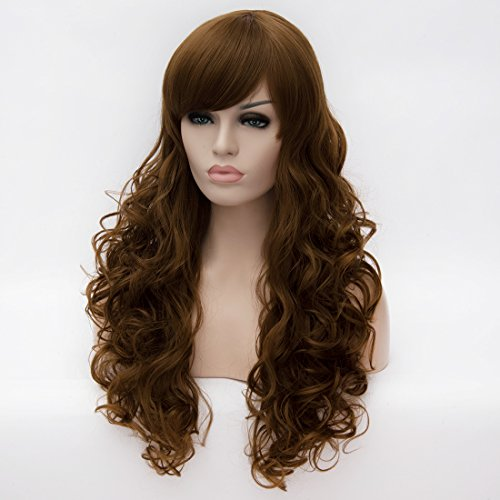 Gentlewoman Costume (24 inch Long Curly Wavy Women Costume Cosplay Party Wigs Blonde Brown Color Wig for Black Women)