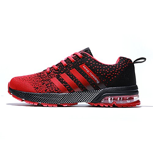 XIDISO Mens Running Shoes Lightweight Air Cushion Sneakers Sport Cross Training Athletic Tennis Shoe for Men Red/Black, 12 Women / 10 Men