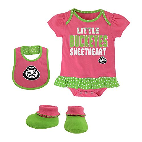 Girl Pink Onesie Bib Booties (Ohio State Buckeyes Pink & Green Sweetheart Bib, Bootie and Onesie Set, 6-9 Months)