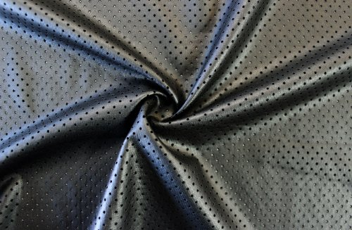 2-Way Stretch Gun Metal Perforated Faux Leather Fabric By The Yard