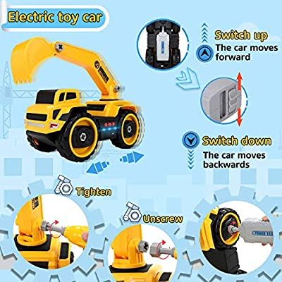 COOLJOY Construction Truck Toy Take Apart Toy Electric Car With Electric Drill