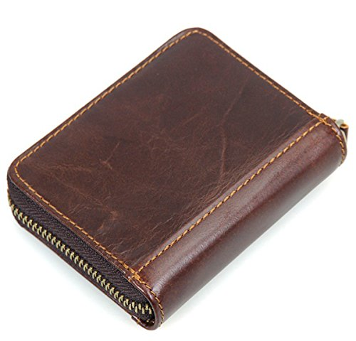 Men's RFID Wallet Vintage Leather Purse Card Case Berchirly Multi-Slot Money Cash (0.25 Lb Chocolate)