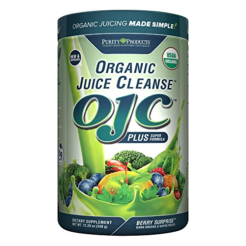 Certified Organic Juice Cleanse OJC Plus Berry Surprise - Purity Products - 30+ Organic Veggies and Fruits - 5 Grams of Fiber - Promotes Energy and Digestive Function - 12.28 oz - 348 g - 30 Servings
