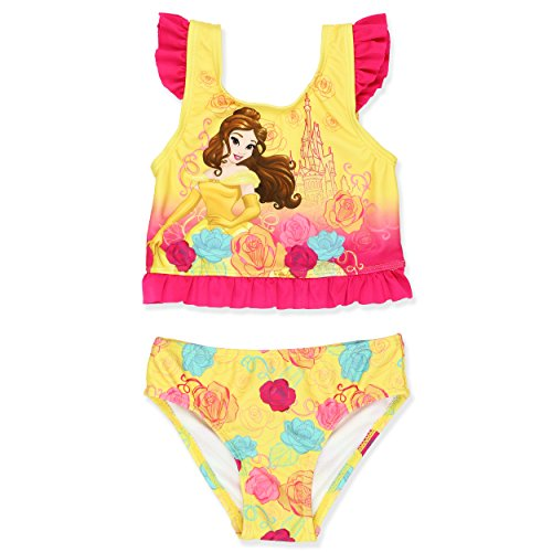 Disney Princess Belle Girls Tankini Swimsuit (4T, Yellow)