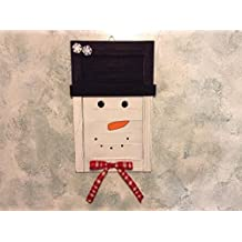 Primitive Rustic Snowman Hanging Wooden Shutter Christmas/Holiday/Winter Home Decor
