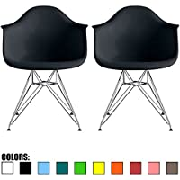 2xhome - Set of Two (2) Black - Eames Style Armchair Wire Legs Eiffel Dining Room Chair - Lounge Chair Arm Chair Arms Chairs Seats Wire Leg Base Chrome Metal Eifel Molded Plastic