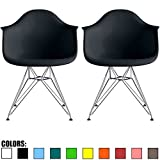 2xhome Set of 2 Black Mid Century Modern Vintage Designer Molded Shell Plastic Armchair With Arms Back Chrome Wire Metal Base Eiffel Dining Chairs Living Room Accent Dowel Office Guest Work Desk DAR Review