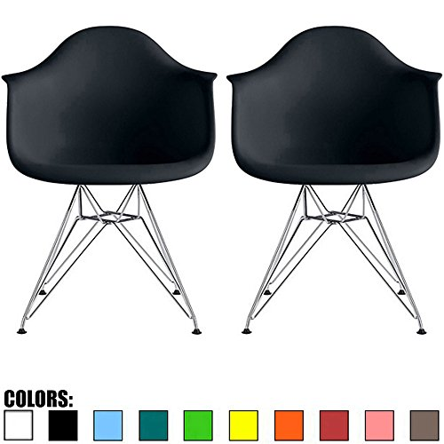 2xhome Set of 2 Black Mid Century Modern Vintage Designer Molded Shell Plastic Armchair with Arms Back Chrome Wire Metal Base Eiffel Dining Chairs Living Room Accent Dowel Office Guest Work Desk DAR