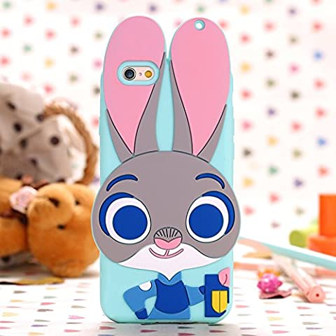 Apple iPhone 6s Plus Case iPhone 6+ Back Covers Skins Silicone Rabbit Bunny 3D Pattern With Charm Loop Hole (For iPhone 6(s) (Iphone 6plus Disney Animal Cases)