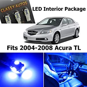 Classy autos acura tl blue interior led package 7 pieces automotive 2004 acura tl led interior lights