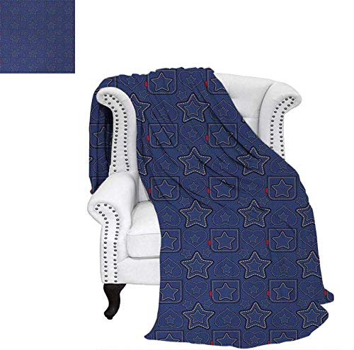 (Summer Quilt Comforter Denim Style Pattern with Hearts and Geometric Motifs on Stripes Background Digital Printing Blanket 62