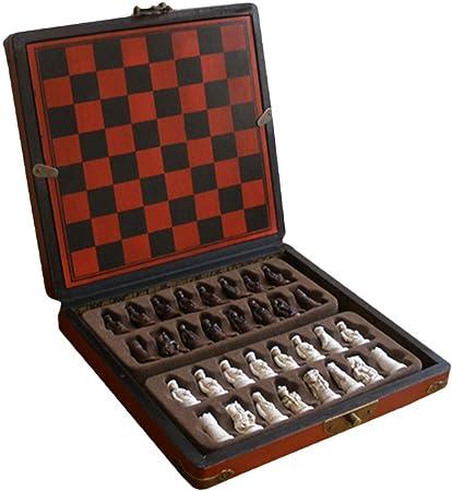 Juego De Ajedrez Antiguo Mesa De Madera Juego De Mesa En Miniatura 22 * 21 * 5 Cm: Amazon.es: Hogar