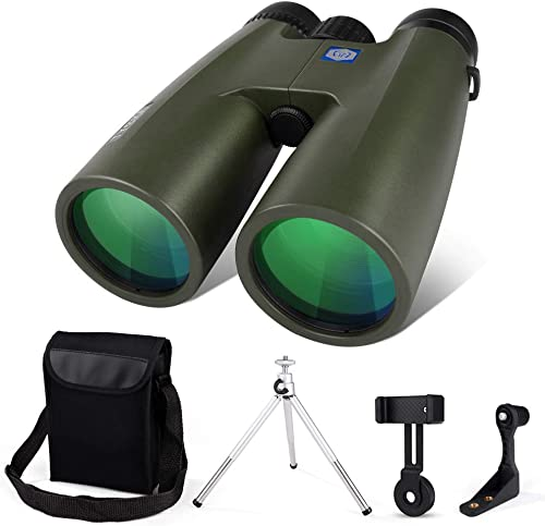 12×50 Binoculars for Adults with Tripod Smartphone Stand Full Optical Glass HD Professional Binoculars BAK4 Prism FMC Lens for Travel Watching Sports Concerts Waterproof Anti-Fog with Shoulder Strap