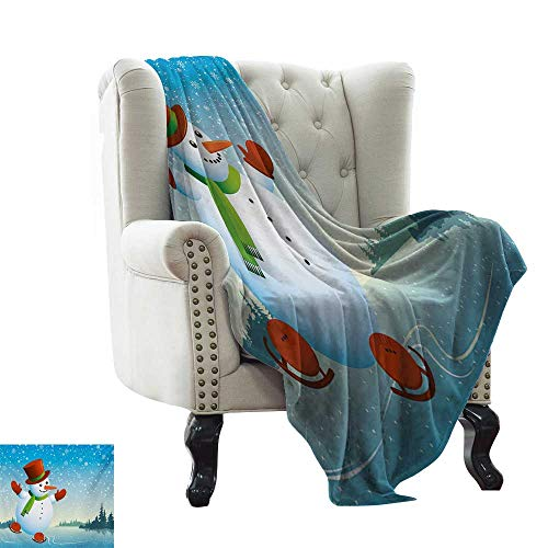 Weighted Blanket for Kids Snowman,Cartoon Happy Character Skating on ICY River Forest Trees Snowy Country,Blue Orange Green Winter Luxury Plush Microfiber Fabric ()