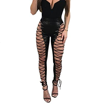 Yizenge Womens Sexy High Waist Lace Up PU Leather Bandage Leggings Bodycon Pants