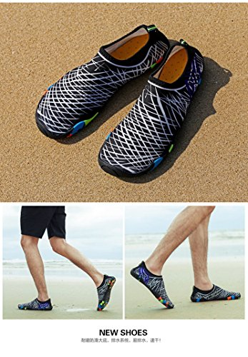 AHATECH Quick Dry Unisex Water Shoes for Adult, Breathable Beach Swim Shoes Water Aqua Shoes Socks for Surf Diving,Swimming, Snorkeling, Neoprene Rubber Sole Aqua Socks White